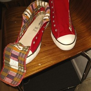 Very Rare Red/Plaid RollDown Converse Chuck Tailor